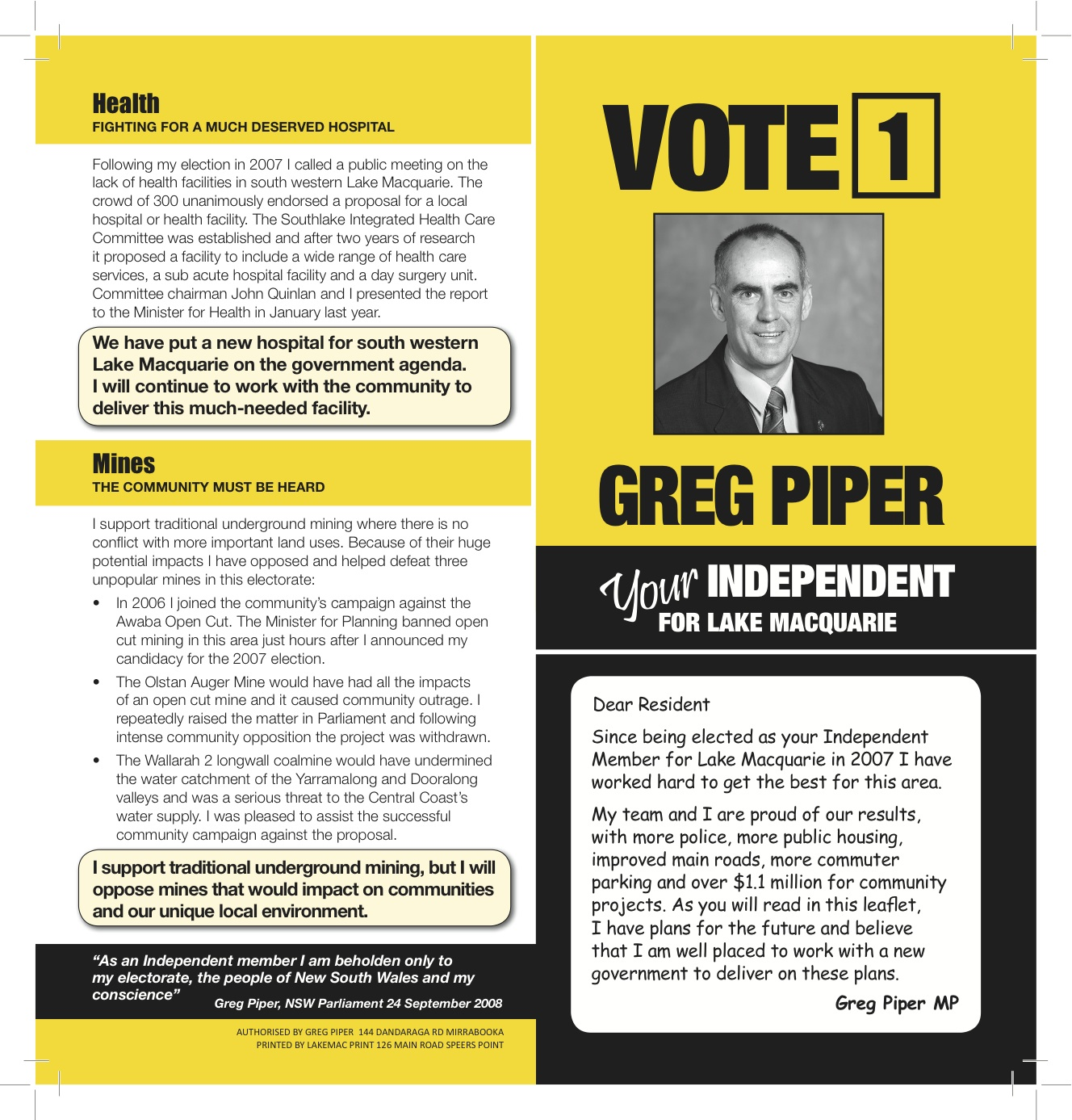 Greg Pipers Blog Election Flyer Policy Items – Election Brochure