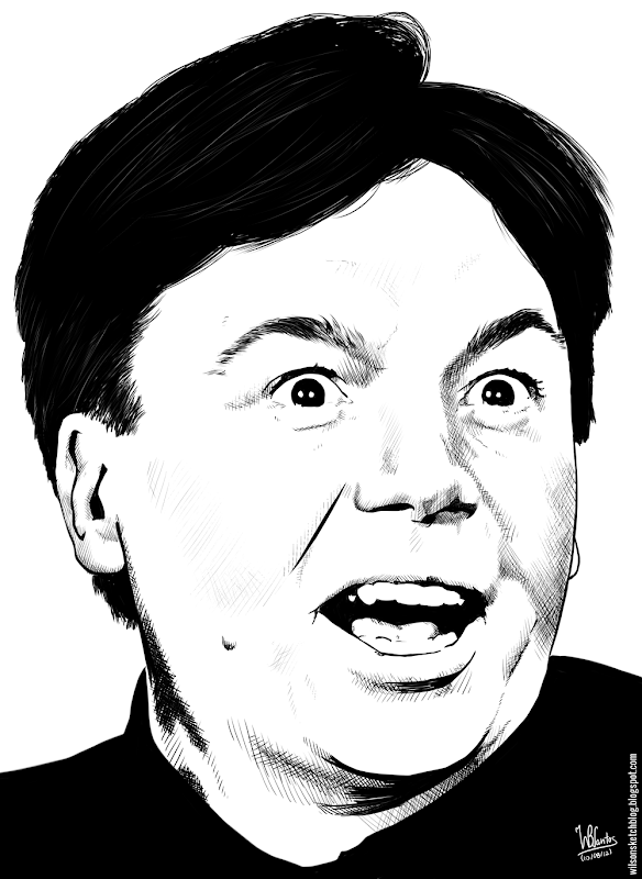 Ink drawing of Mike Myers, using Krita 2.4.