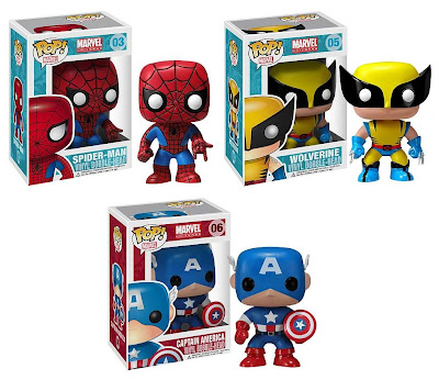 Marvel Pop! Vinyl Figure Bobble Heads - Spider-Man, Wolverine & Captain America