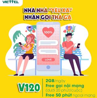 Miễn phí 60GB, Gọi Không giới hạn Gói V120 Viettel