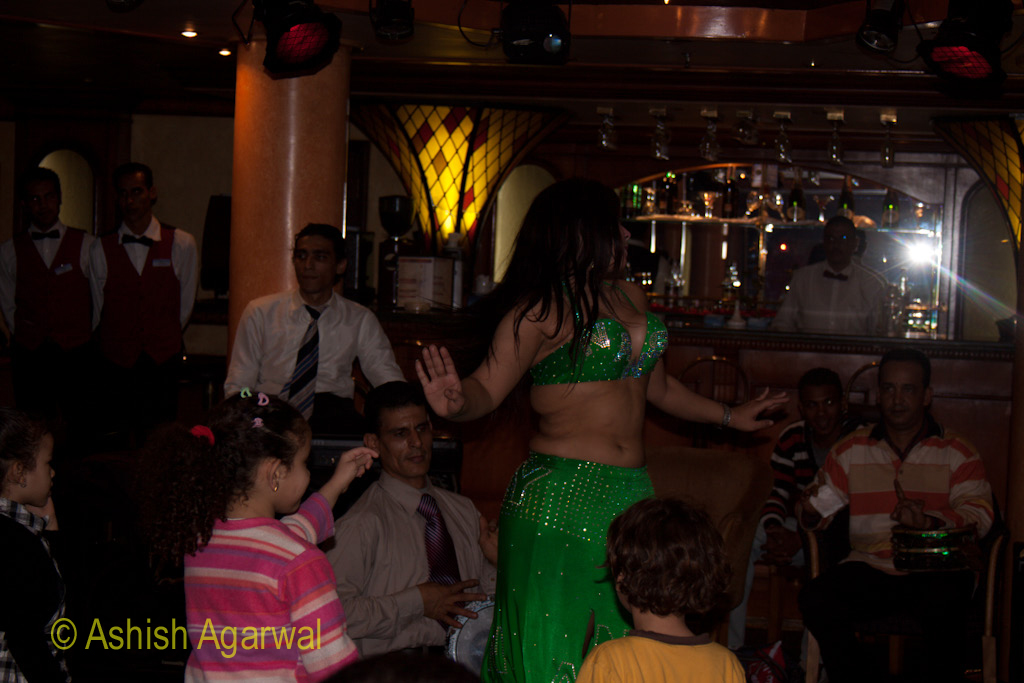 Belly dancer among passengers on the River Nile cruise ship