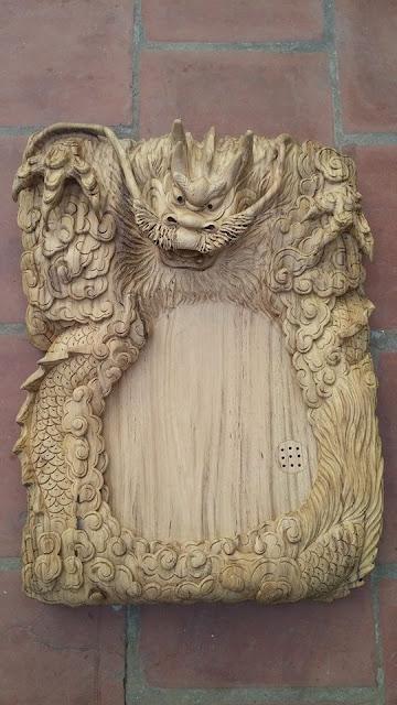 Khay trà đầu Rồng gỗ gụ Quảng Bình mẫu KT14 2