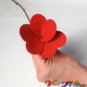 Bó hoa vải đẹp cho ngày lễ valentine (bước 4)