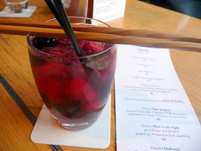 House Sake Sangria of Junmai Ginjo sake, brandy, Oregon pinot gris, spice blend, citrus, and Viridian Farm berries, Teardrop Lounge, happy hour, cocktails