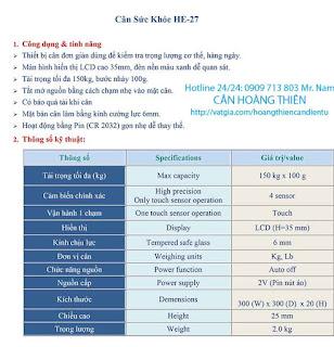 Cân sức khỏe thông số CAS HE-27