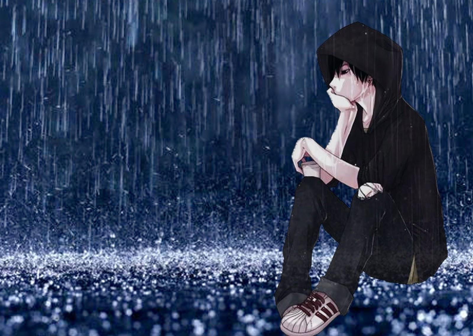Ảnh hoạt hình chàng trai thất tình ngồi dưới mưa