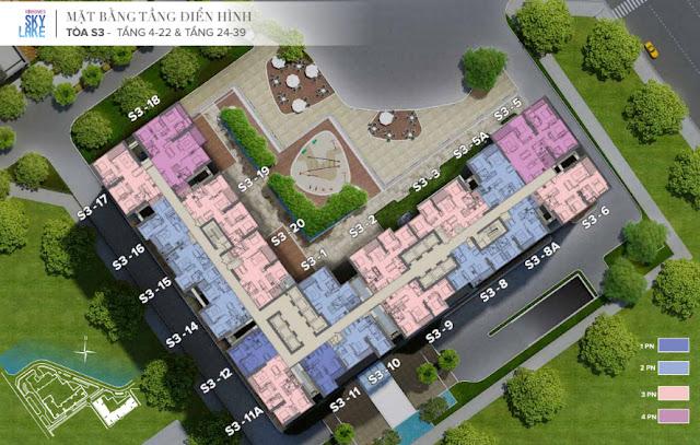 Mặt bằng tòa S3 Vinhomes Skylake tầng 4 đến tầng 22 - 24 đến 39
