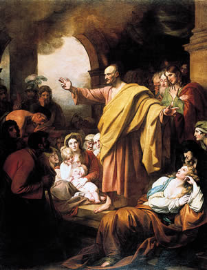 St. Peter's Pentecost Sermon (Acts 3), by Benjamin West (1738-1820)