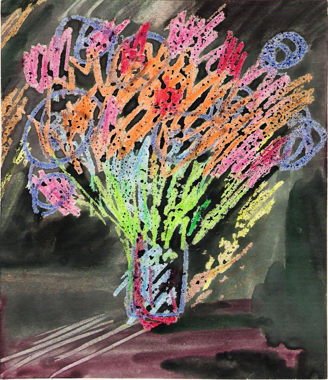 la ragazza sull'altalena: i fiori su sfondo nero