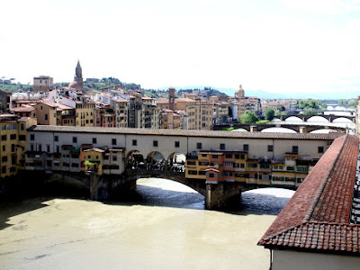 View of the Ponte Vecchio from the Uffizi in Florence