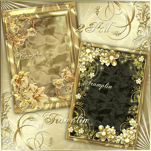 2  золотые рамки  для Photoshop -  Вечер блестящий ласково-ласково звездочкой смотрит в окно