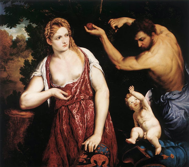 Paris Bordone - Venus and Mars with Cupid