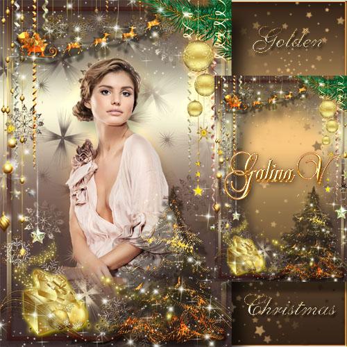 Гламурная праздничная рамка - Золотой блеск Рождества