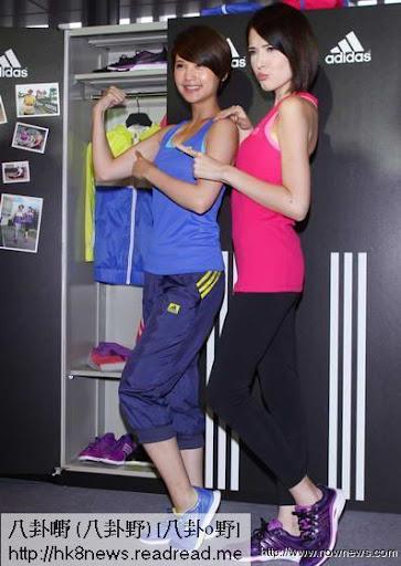 ▲楊丞琳(左)和許瑋甯都自豪擁有「11字腹肌」。(記者林調遜/攝影)