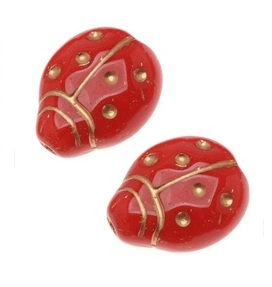 Red and Gold Ladybug Beads from Beadaholique