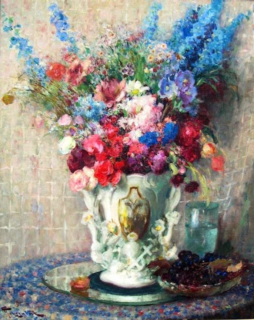 Fernand Toussaint - Bouquet of Flowers in White Porcelain Vase