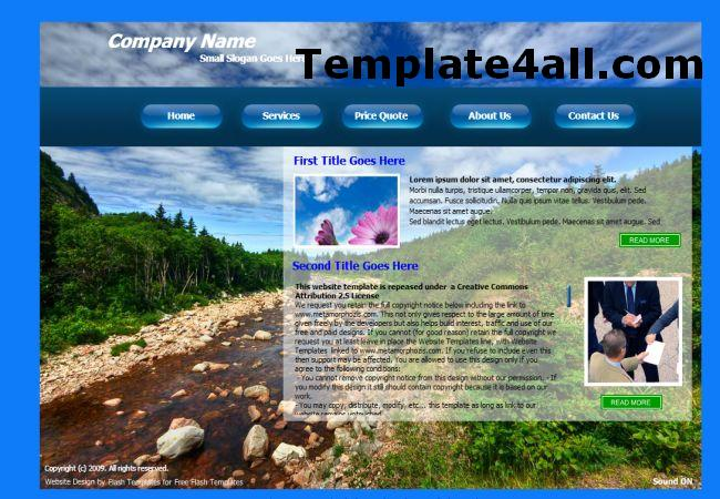 Free Forest Nature Flash Website Template