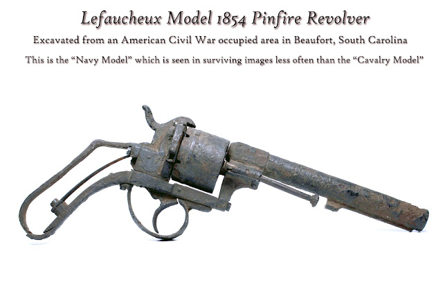 Excavated Lefaucheux model 1854 Pinfire Revolver from Beaufort, South Carolina