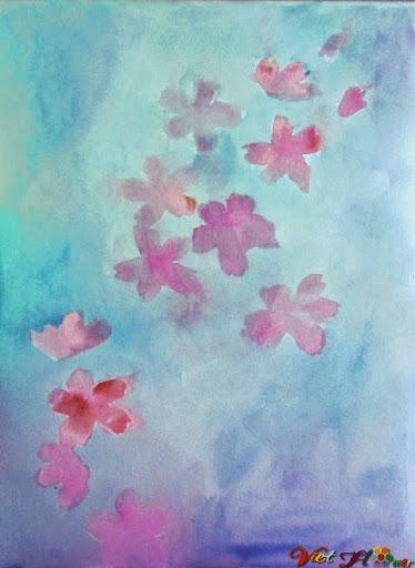 vẽ hoa anh đào bằng màu nước (Bước 4)