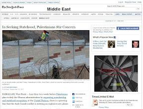 New York Times: Railing Against Palestinian Statehood