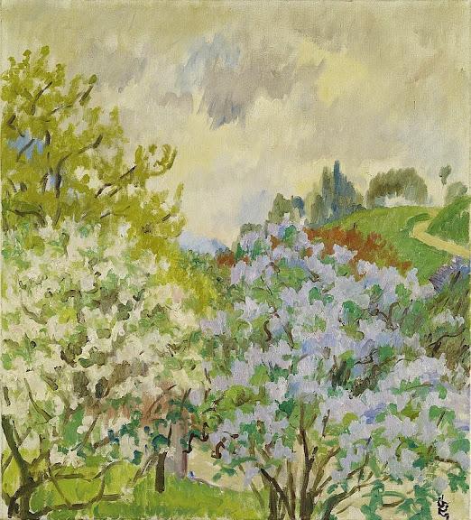 Giovanni Giacometti - Paesaggio primavera Stampa, 1932