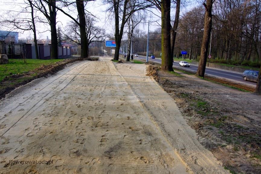 Droga dla rowerów i chodnik zgrabnie omijają rosnące drzewa.