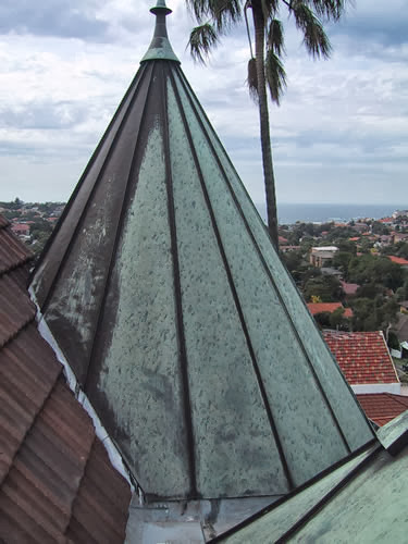 Nugal Hall Spire prior to restoration by All-Dry Roofing of Sydney