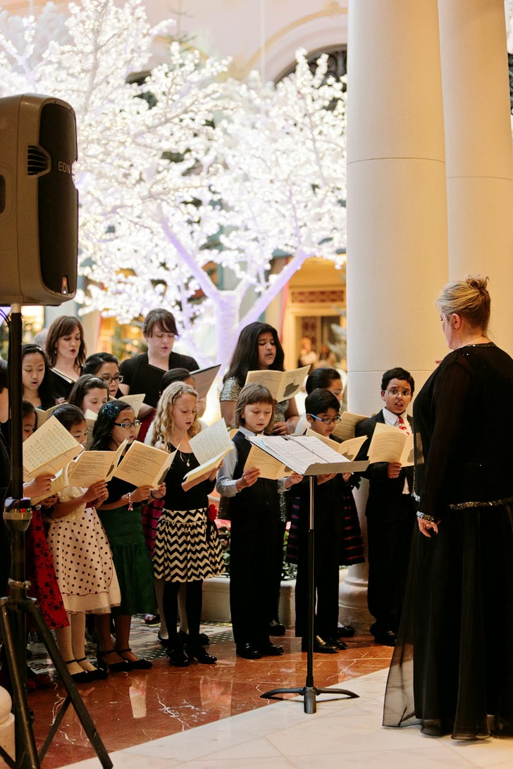 Carolers at the Bellagio Las Vegas Nevada.