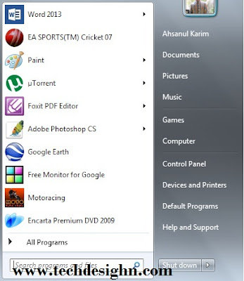 """windows 7 start menu"""