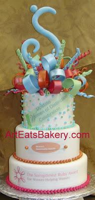 Soroptomist Club awards dinner custom fondant three tier cake with bow and logos