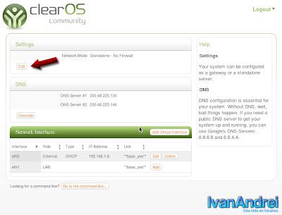 ClearOS - Configuración tarjeta de red