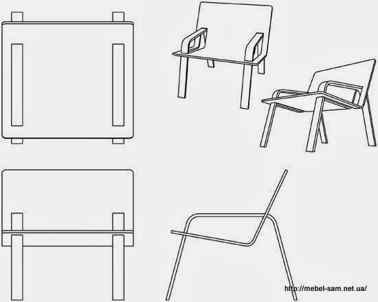 Фанерное кресло - рисунок в контуре