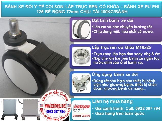 thông số kỹ thuật Bánh xe chịu lực có khóa trục ren Colson Caster Mỹ| CPT-5854-85BRK4
