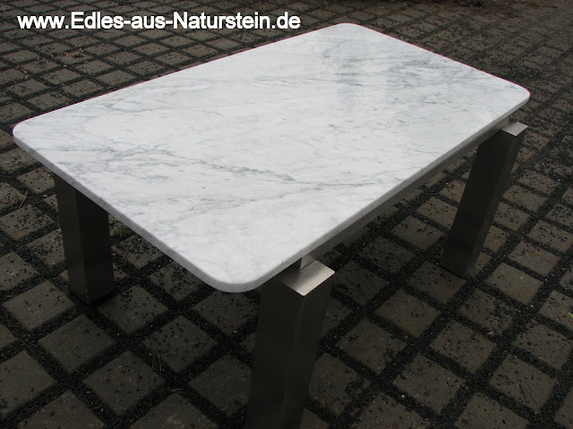Tisch couchtisch edelstahltisch weisser marmor wohnzimmer for Tischplatte rund marmor