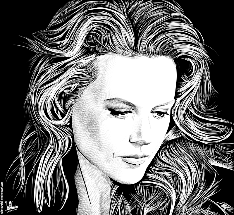 Ink drawing of Nicole Kidman, using Krita 2.4.