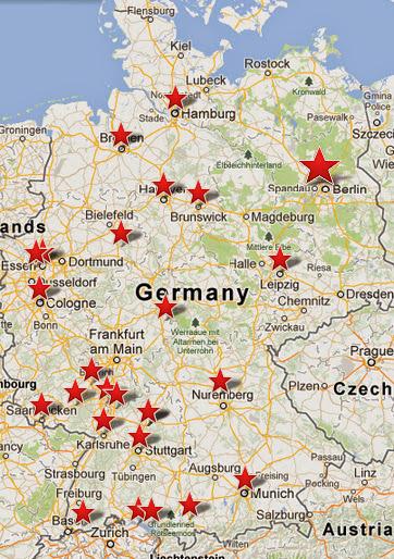 Карта расположения активистов немецкой ячейки