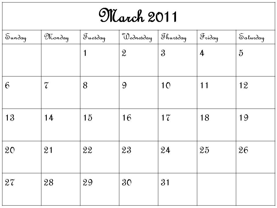 blank march calendar. lank march calendar template.