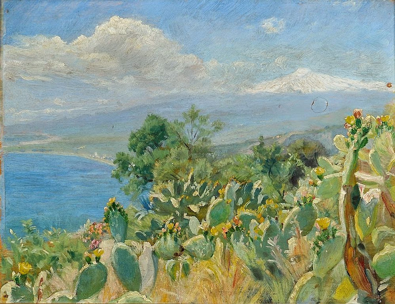 Peder Severin Krøyer - Flourishing cacti near Toarmina. In the background Mount Etna covered in snow