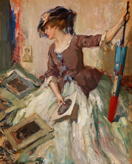 Fernand Toussaint - Jeune femme comtemplant de croquis with Parasol