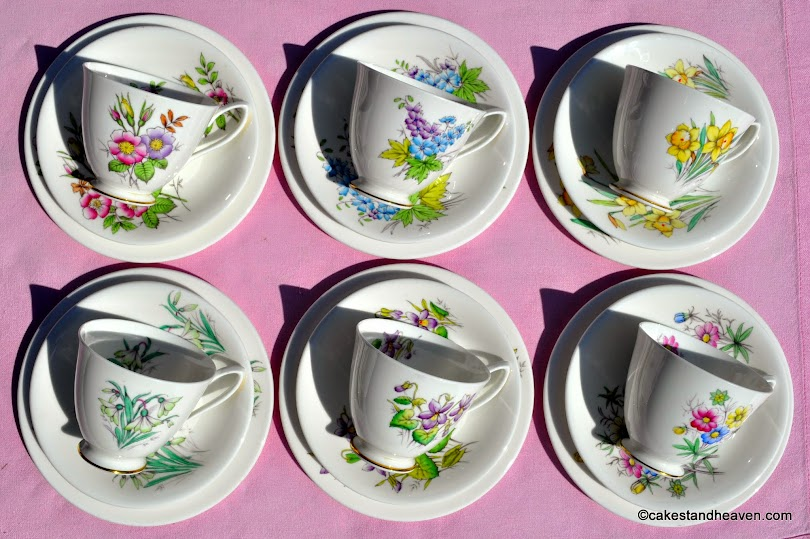 Royal Albert Hampton Shape Flower of the Month Trios