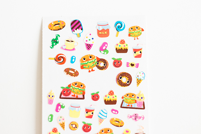 cute illustrated food stickers