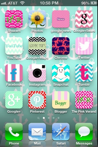 change your phone icons, lilly pulitzer, preppy