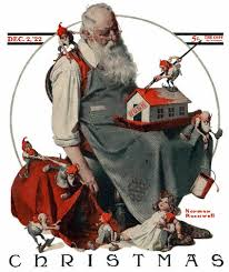Santa with the Elves Norman Rockwell
