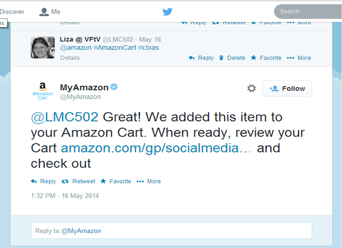 Receive Confirmation via Twitter When Item(s) Have Been Added #AmazonCart #cbias