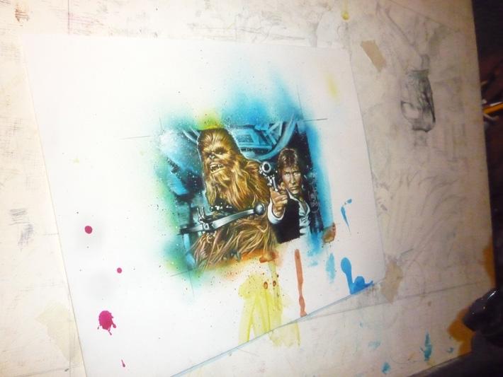Han Solo and Chewbacca, original art by Jeff Lafferty