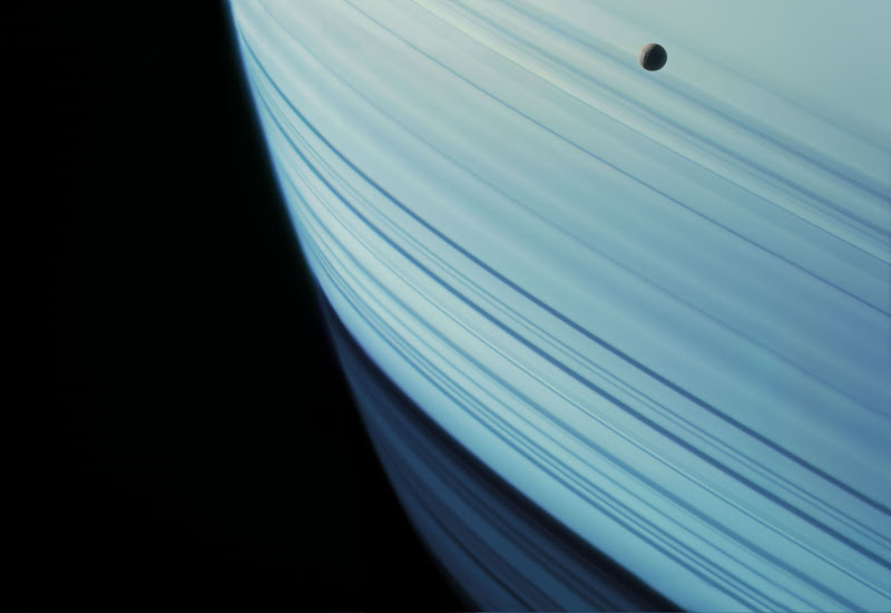 Mimas Over Saturn's Ring Shadows by Michael Benson