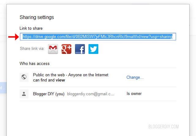 Google drive file share link