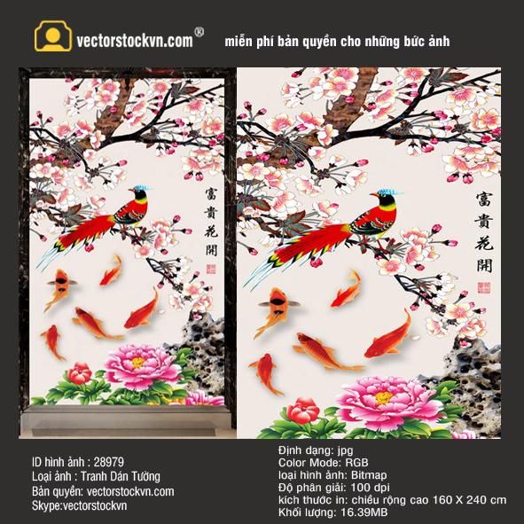 Chim Phong Phú hoa nở cá vàng bơi.