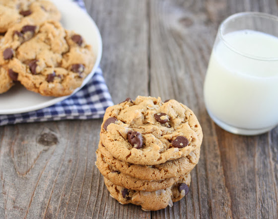 photo of a cookies with a glass of milk