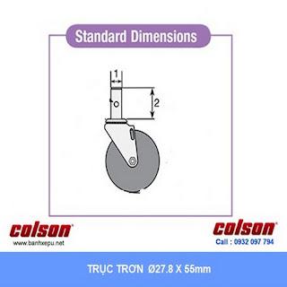 Bảng vẽ kích thước trục trơn bánh xe đẩy cao su STO chịu tải trọng (80~100kg) :
